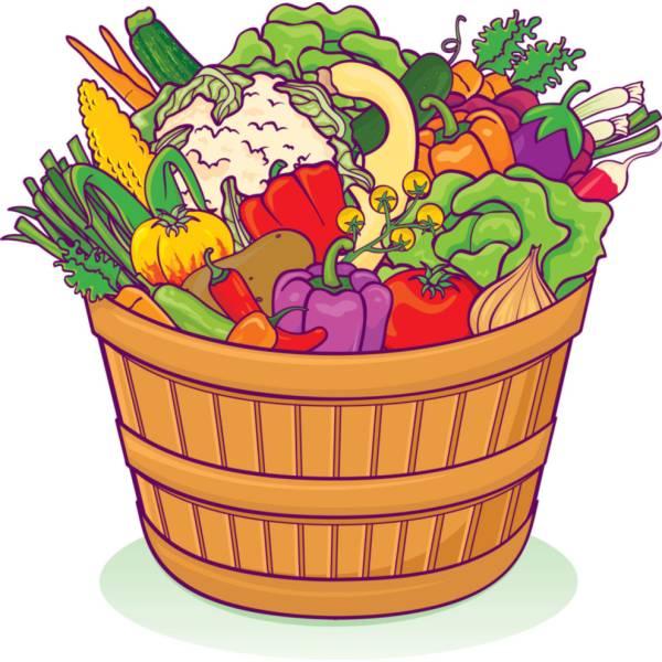 Disegno di cesto ortaggi e verdure a colori per bambini