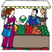disegno di Banco di Frutta a colori