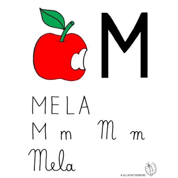 Disegno di Lettera M di Mela a colori