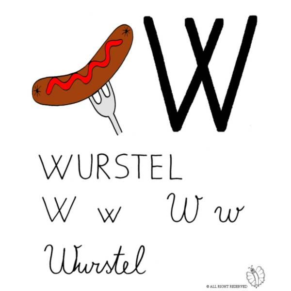 Disegno di Lettera W di Wurstel a colori