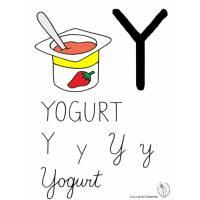 Disegno di Lettera Y di Yogurt a colori