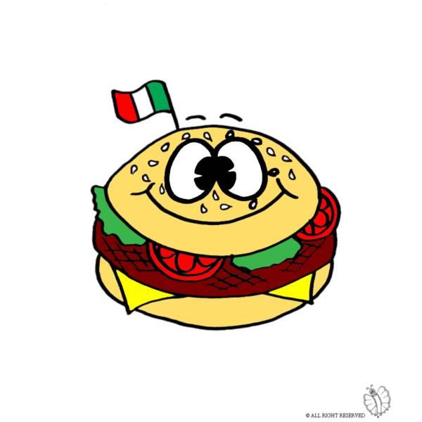 Disegno di Panino Hamburger a colori