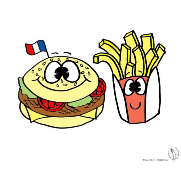 Disegno di panino e patatine a colori per bambini