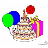 Disegno di Torta Compleanno con Lecca Lecca a colori