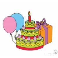 Disegno di Torta Compleanno con Palloncini a colori