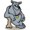 disegno di Bulldog con Osso a colori