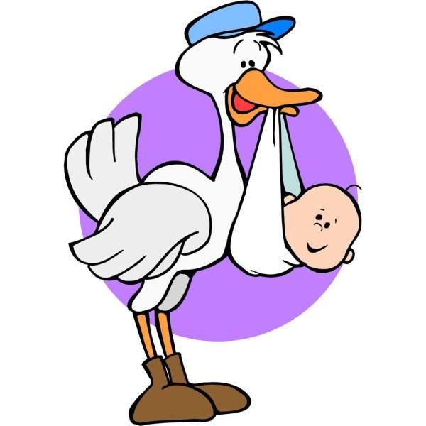 Disegno di Cicogna con Bambino a colori
