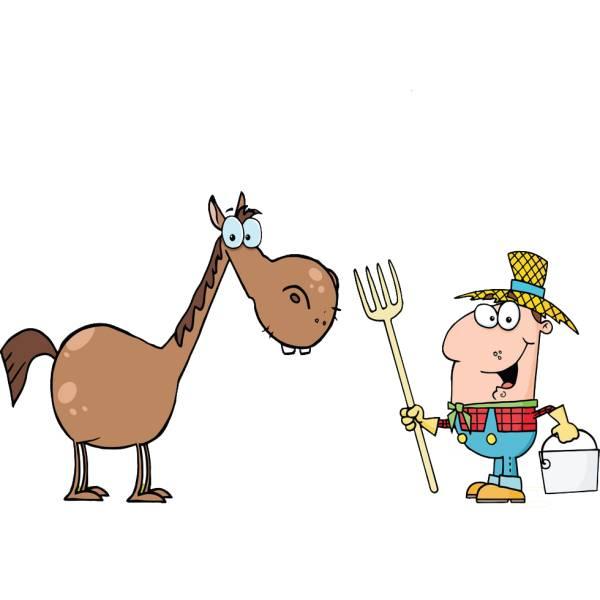 Disegno di Il Cavallo nella Fattoria a colori