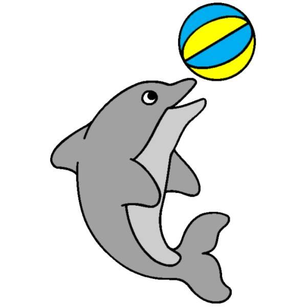Disegno Di Delfino Con La Palla A Colori Per Bambini