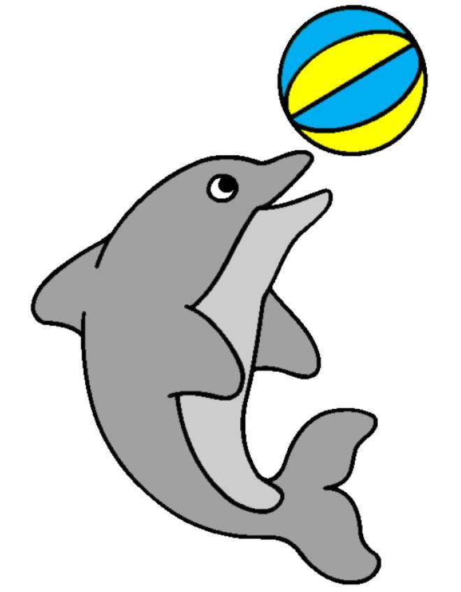 Disegno di delfino con la palla a colori per bambini for Neonati da colorare e stampare