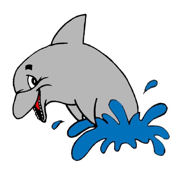 Disegno di delfino a colori per bambini for Disegni da colorare paesaggi marini