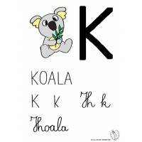 Disegno di Lettera K di Koala a colori