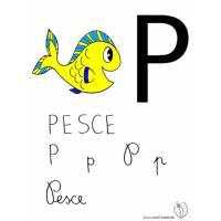 Disegno di Lettera P di Pesce a colori