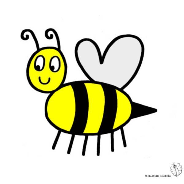 Disegno di ape regina a colori per bambini for Immagini api per bambini