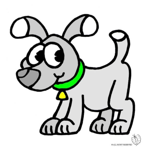 Disegno di cane con collare a colori per bambini for Disegno cane per bambini