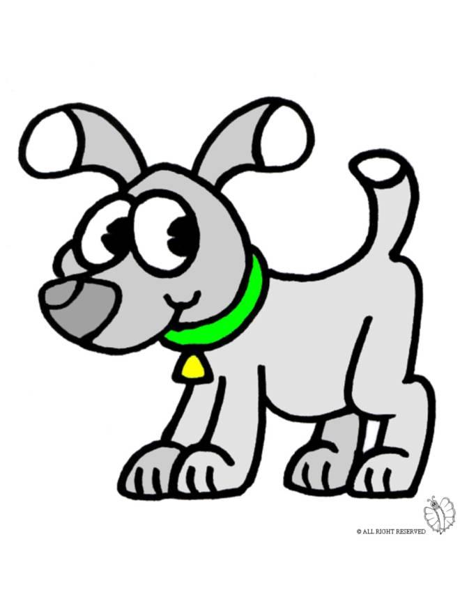 disegno di cane con collare a colori per bambini