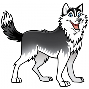 Disegno di cane husky a colori per bambini gratis for Cane da disegnare per bambini