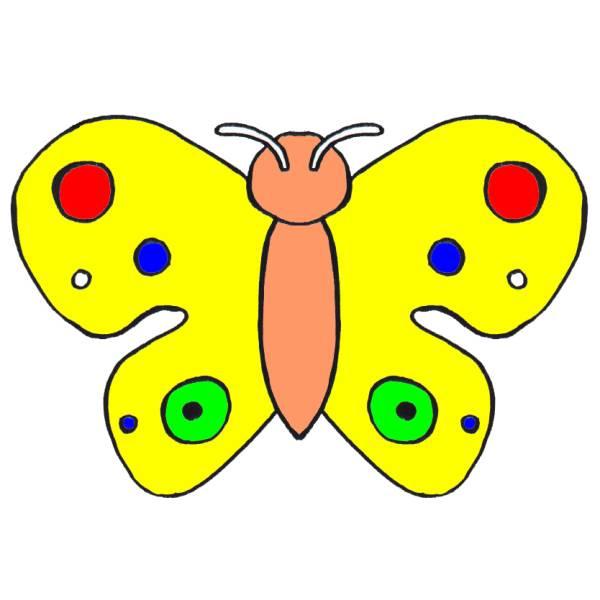 Disegno Di Farfalla A Pois A Colori Per Bambini