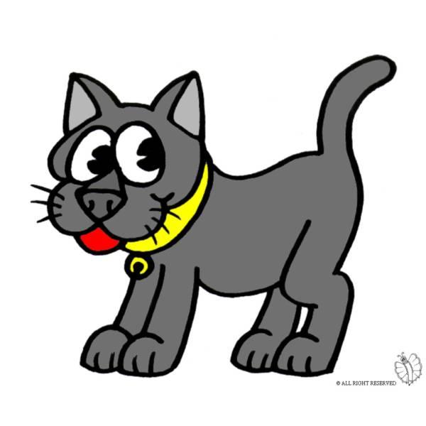 Disegno di Gatto con Collare a colori