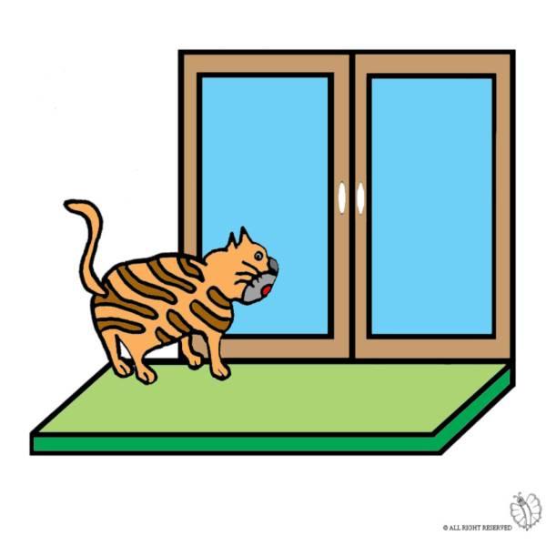 Disegno di gatto sulla finestra a colori per bambini for Disegno di finestra aperta