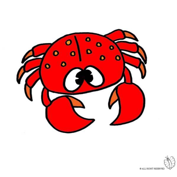 Disegno di granchio a colori per bambini - Clip art animali marini ...