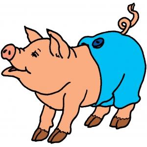 Disegno di maiale con pantaloni a colori per bambini for Stampe di fattoria gratis