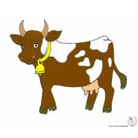 Disegno di Mucca con Campana a colori