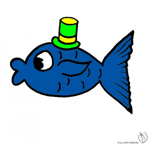 Disegno Di Pesce Con Cappello A Colori Per Bambini
