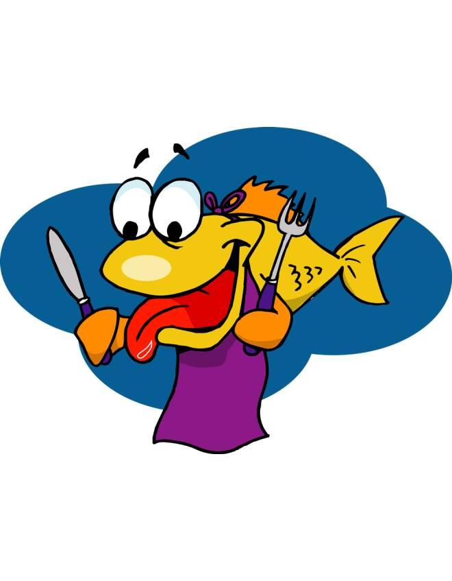 Disegno di pesce affamato a colori per bambini for Disegno pesce palla