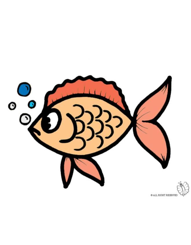 disegno di pesciolino con le bollicine a colori per