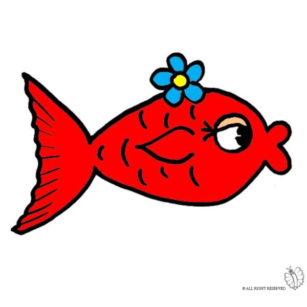 Disegno di pesciolino rosso a colori per bambini for Immagini pesciolini