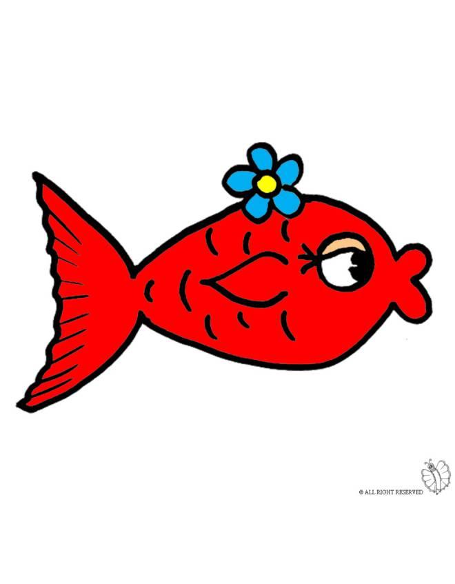 disegno di pesciolino rosso a colori per bambini