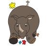 Disegno di Rinoceronte Felice a colori