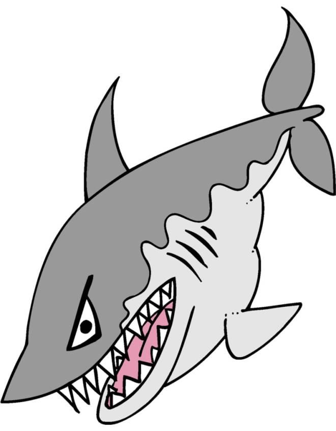 Disegno di lo squalo a colori per bambini for Disegno squalo per bambini