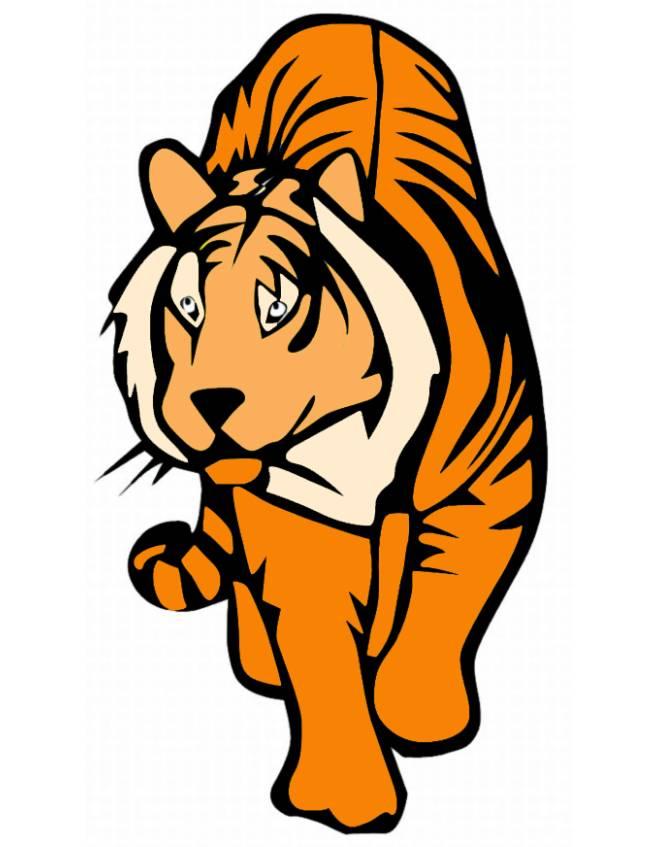 disegno di tigre a colori per bambini