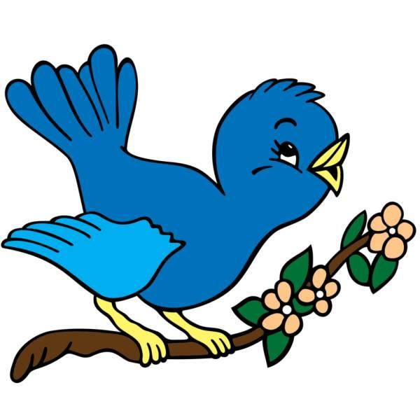 Disegno di Uccelli in Primavera a colori
