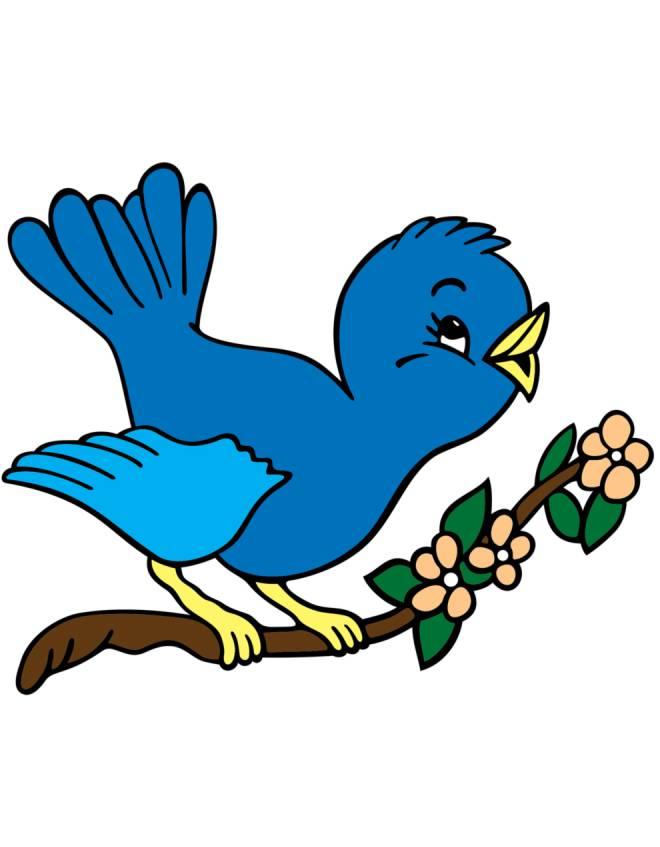 Disegno di uccelli in primavera a colori per bambini for Uccellino disegno