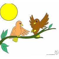 Disegno di Uccelli sull'albero a colori