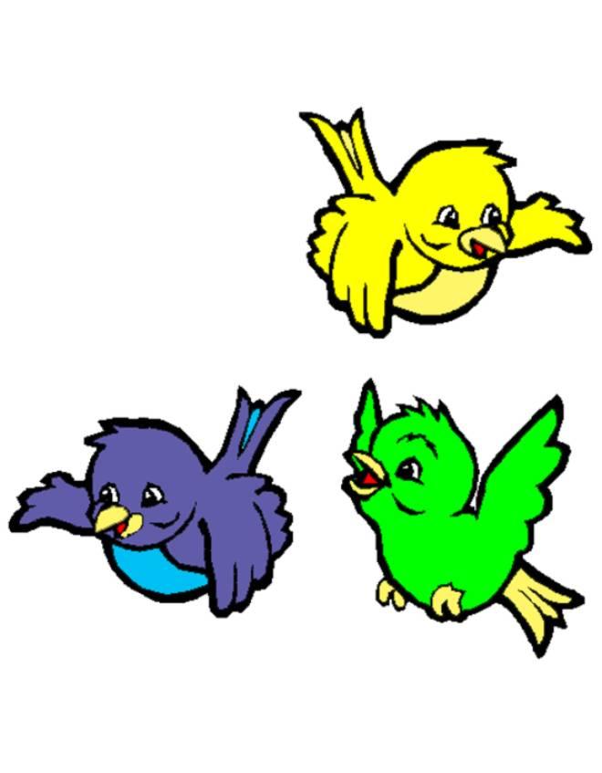Disegno di uccellini a colori per bambini - Semplici disegni di uccelli ...