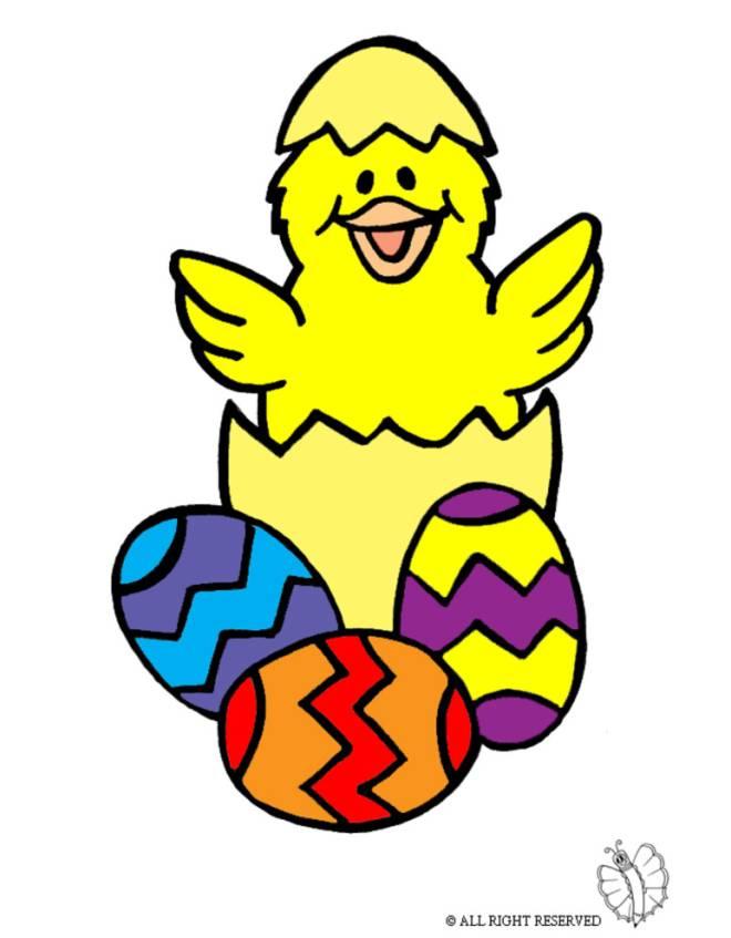 Disegno di uova di pasqua con pulcino a colori per bambini for Coniglio disegno per bambini