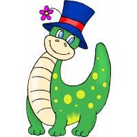 Disegno di Dinosauro con Cappello a colori