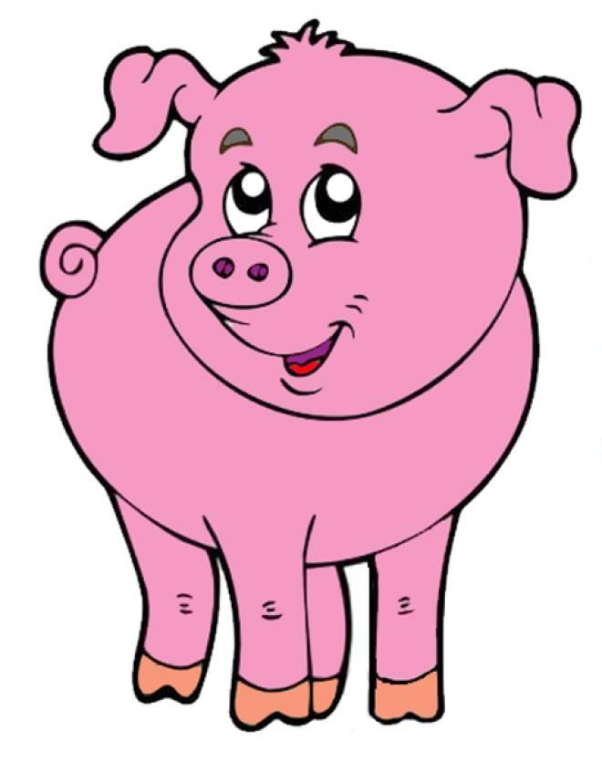 Disegno di il maialino della fattoria a colori per bambini