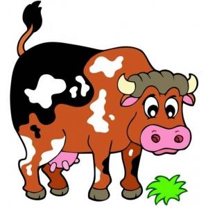 Disegno di la mucca della fattoria a colori per bambini for Maialino disegno per bambini