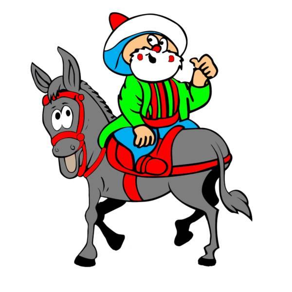 Disegno di Uomo Buffo a Cavallo a colori