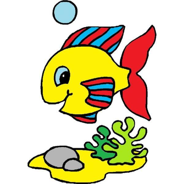 Disegno di pesciolino a colori per bambini for Disegno pesciolino da colorare