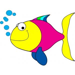 Disegno di pesciolino con bollicine a colori per bambini for Immagini pesciolini