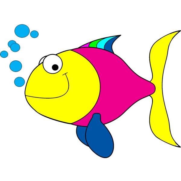 Disegno di pesciolino con bollicine a colori per bambini for Disegno pesce palla