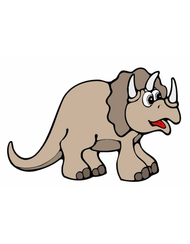 Stampa disegno di piccolo triceratopo a colori - Stampa pagine da colorare dinosauro ...