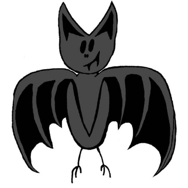 Disegno di pipistrello a colori per bambini - Contorno immagine di pipistrello ...