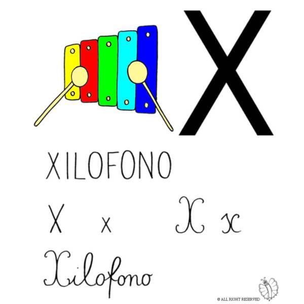Disegno di Lettera X di Xilofono a colori